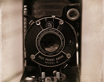 Kodak Camera Metal Print, Modern Wall Art, Large Decor, Vintage Camera, Camera Photography, Gift for Photographer, Black and White Photo