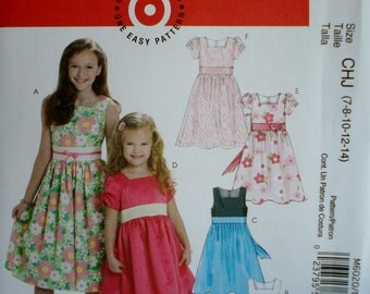 McCall's 6020 Girl's Lined Dress Pattern ~ Sizes 7-14 UNCUT
