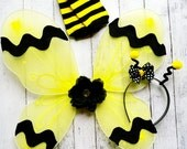 Bumble Bee Wings - Halloween Costume Wings - Antenna Headband - Bumble Bee Leg Warmers - 3 Piece Accessory Set