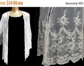 RESERVED - 20% SALE Vintage 90s Kimono Jacket Fringed Embroidered Net Lace , 1990s Hippie Boho Festival Bohemian Cardigan, Size S to M
