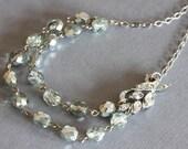 Gray Beaded Necklace Rhinestone Leaf Necklace  Silver Rhinestone Leaf Necklace One of a Kind