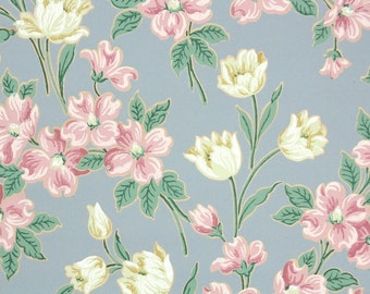 1940s Vintage Wallpaper by the Yard - Yellow Tulips and Pink Dogwood on Blue