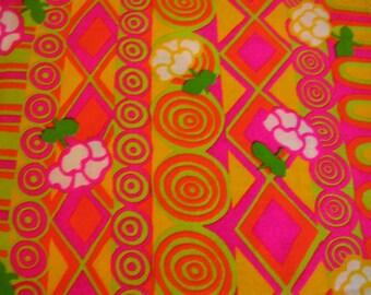 "Vintage Pattern Fabric 48"" x 124"" mod hippie retro pink orange lime"