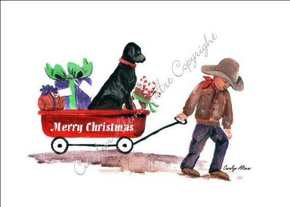 Cowboy and Red Wag Christmas Cards  Package of 20