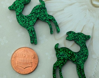 EMERALD GLITTER DEER - Set of 2 Cabochons in Laser Cut Acrylic