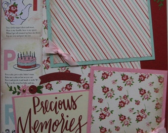 Precious Memories...family....girl...TWO completed 12x12 Premade Scrapbook pages