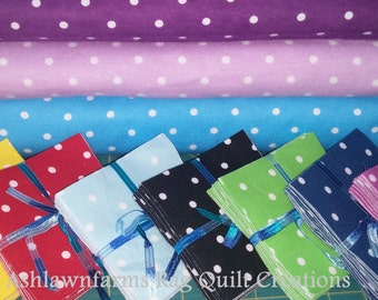 Reverse DOTS FLANNEL Fabric Squares you pick your colors and size