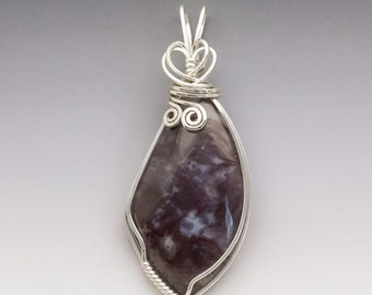 Horse Canyon Moss Agate Rare Color Sterling Silver Wire Wrapped Pendant - Ready to Ship!