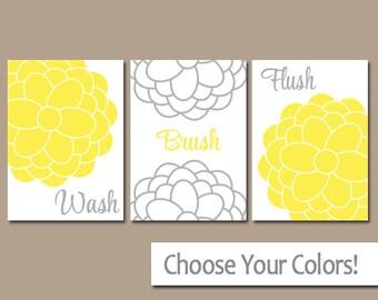 Yellow Gray BATHROOM Wall Art, CANVAS or Prints, Bathroom Pictures, Wash Brush Flush, Flower Bathroom Artwork Set of 3 Child Bathroom