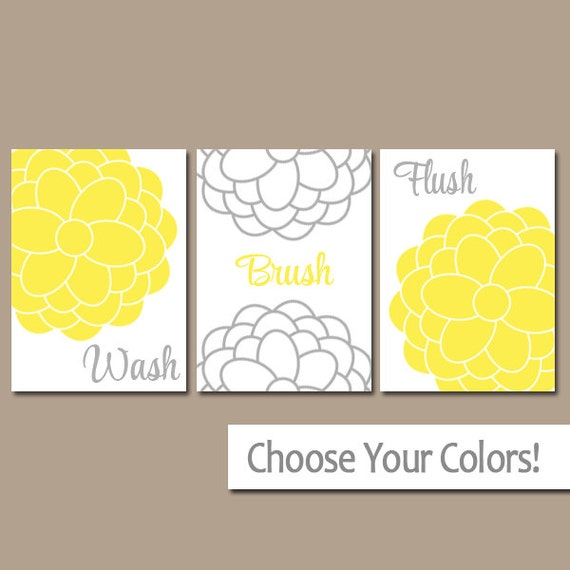 Yellow Gray BATHROOM Wall Art CANVAS Or Prints Bathroom Pictures
