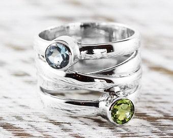 Custom Gemstone Ring 5mm Stone White Gold Rings Womens Jewelry