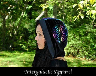 Sacred Geometry Hood with Obsidian Crystals and Organic Fabric, Festival Hood, Gypsy Clothes