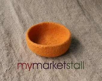 Orange Felted Bowl - In Stock - Ready to Ship