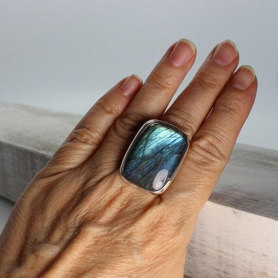 Stunning Blue fire Labradorite stone ring 925 silver by ...  Stunning Blue f...