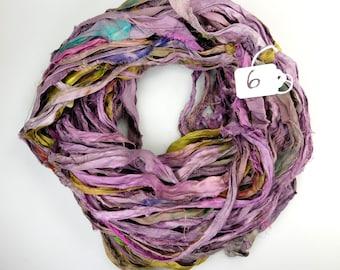 Sari silk ribbon, Recycled Silk Sari Ribbon, purple sari ribbon skein, lilac sari ribbon, silk ribbon