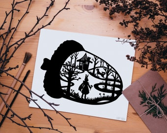 Little Red Riding Hood Art Silhouette Scherenschnitte Scissor Cut Paper Little Red Rabbit Hood Acorn Fairy Tale Story Book