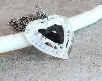 Vintage Heart     Necklace    Swarovski Crystal  Oxidized Silver Heart Pendant Crystal Jewelry Mirror Necklace Clear Swarovski Pendant