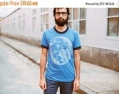 SALE Men's graphic tee, full moon screenprint on American Apparel heather blue ringer tshirt by Blackbird Tees - CLOSEOUT
