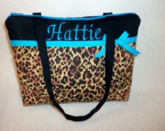 Leopard cheetah Girls Boutique Tiny Tot Tote bag handbag purse youth toddler choose ribbon color birthday gift up to 3 year old party favor