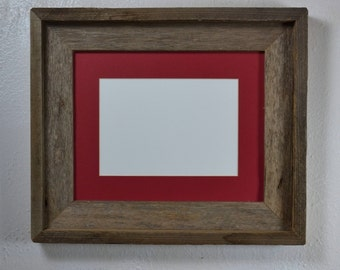 8x10 natural gray wood picture frame with red 8x6 mat
