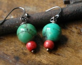 Chrysoprase, Red Coral Earrings, Green, Red, Natural Stone
