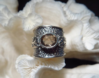 Clear Smoky Quartz Wide Band Ring Size 8
