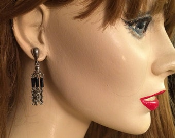 Vintage dangle drop clip on silver black Earrings signed PARK LANE