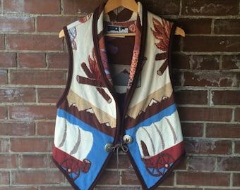 VINTAGE Vest Western Campfire Tapestry Vest Plains Cowboy New Mexico  Indian Pattern Covered wagon wheel Rare Unique Cotton