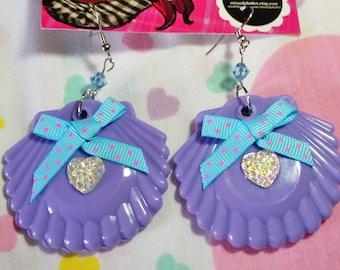 Sea shell drop earrings, mermaid sparkle purple lilac dangle seapunk