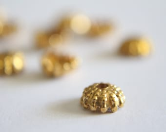 Raw brass sea urchin bead caps 8mm (12)