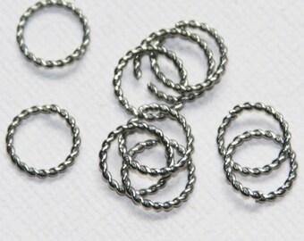 50 pcs of stainless steel twisted jumprings 10mm, stainless steel open jumprings, stainless steel saw cut jumprings