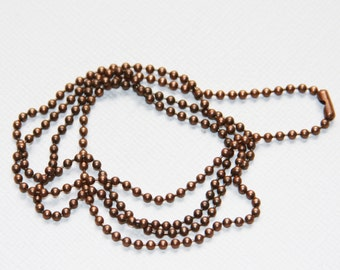 5 strands of 24 inch antique copper ball chain with connector  1.8mm