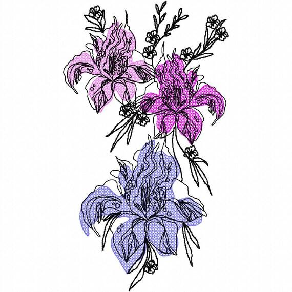 floral tattoo machine embroidery design 3042. Black Bedroom Furniture Sets. Home Design Ideas