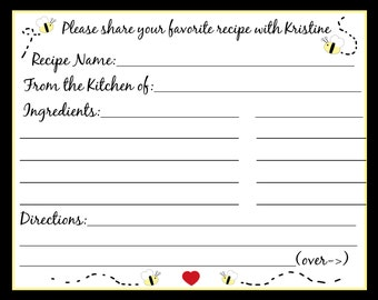50 Personalized Recipe Cards -  Bride to BEE
