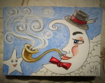 Original Miniature ACEO Whimsical Fantasy Art Watercolor Painting Mr. Moon