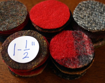Felted Wool Circles -- 50 Wool Pennies -- 1-1/2 inches for Wool Penny Rugs
