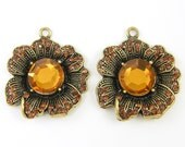 Large Amber Flower Pendant, Large Rhinestone Flower Pendant Dimensional Antique Gold Earring Findings Charms |BR3-7|2