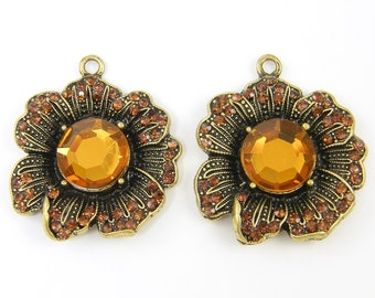Large Amber Rhinestone Flower Pendant Dimensional Antique Gold Earring Findings Charms  BR3-7 2