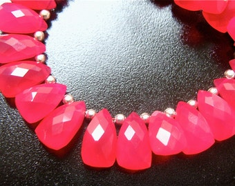 SALE- 3.5 Inch 1/2 Strand of Hot Pink Chalcedony Faceted Pyramid Briolettes 7mm x 10mm semi precious gemstone beads