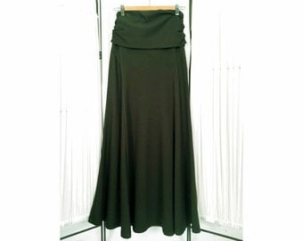 Alena Designs - Skyris - Long fit & flare women's maxi stretchy skirt fold over waist bamboo cotton lycra Forest Green
