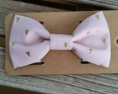Baby Pink Gold Triangles Bow Tie Pet Collars Dog Bows