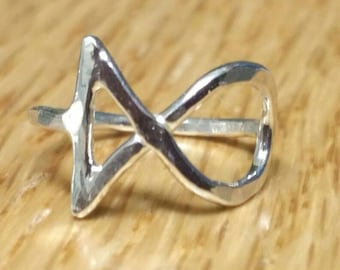 Small Jesus Fish Ring , Pinky RIng ,  Silver Ichthus Ring , US Size 3 Fish Easter Jewelry by Maggie McMane Designs