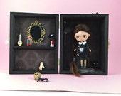 Custom Takara Petite Blythe Wednesday Addams in her Room Box Display Case