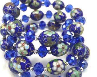 Exquisite Blue Floral Cloisonne Beads - Blue Crystal Beads - Memory Wire Wrap Bracelet