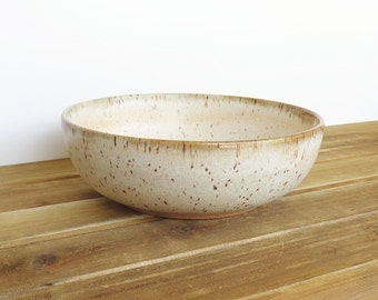 Stoneware Pottery Pasta Bowl in Satin Oatmeal Glaze - Dinner Salad Bowl