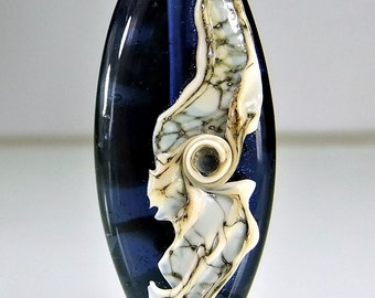 Silvered Ivory and Blue Organic Lampwork Focal Bead