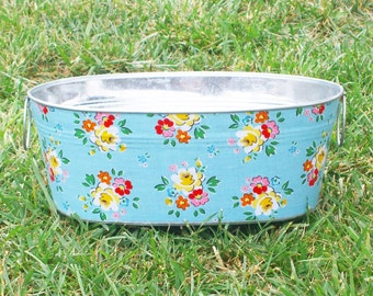 SALE Aqua Backyard Roses Short Medium Oval Tub - Crafted Ready for Shipping