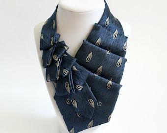 Women's Necktie - Necktie Scarf - Silk Scarf - Statement Necklace - Memorial Gift - Upcycled Tie - Gift For Wife - Navy Blue Tie. 01.