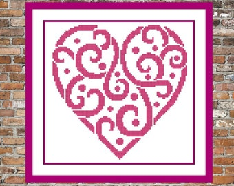 Curly Heart - a Counted Cross Stitch Pattern