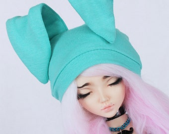 MSD hat BJD clothes Bunny Beanie in Light Mint knit MonstroDesigns Ready to ship